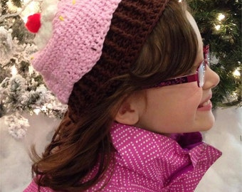Cupcake beanie hat - Large Child (9-12 years old)