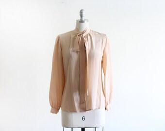 Vintage Minimal Silk Blouse / Nude Blouse / Modern and Minimal / S M