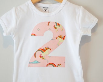 Girls 2nd Birthday Shirt, Sale Flaw, Rainbow Unicorn Applique Number 2, White Short Sleeve Tshirt, Pink, Magical Second Birthday, Size 2