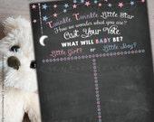 Gender Reveal Games - Gender Reveal Chalkboard Sign - Twinkle Twinkle Little Star - Cast your vote - Printable - Non-editable