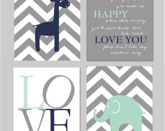 "Mint Nursery Navy and Mint Nursery Mint and Grey Nursery You Are My Sunshine Elephant Nursery Set of four 8""x10"" Instant Download"