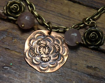 Brass Chain and Copper Mixed Metals Necklace with Roses and Gemstones Steampunk Theme
