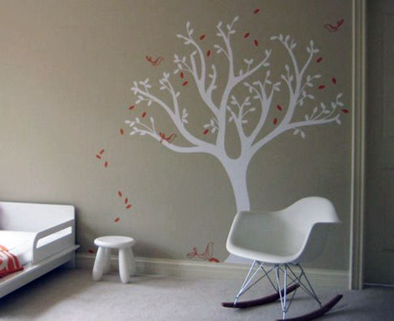 Tweet Tree Wall Decal - Birds tree decal - Modern Kids Room Wall Decor by LittleLion Studio