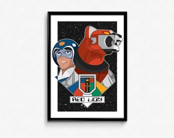 Red Lion and Pilot Lance Portrait // Digital Illustration and Fine Art Print // Colorful, Dynamic Voltron Inspired Pop Art Design