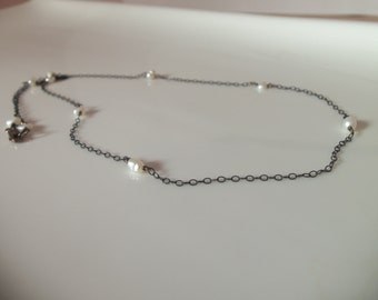 Freshwater Pearl Handmade Necklace with Oxidized Sterling Silver