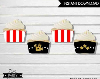 Hollywood Birthday Party Printable Cupcake Wrappers by Fara Party Design   Movies Party   Hollywood Star  The OSCARS Party