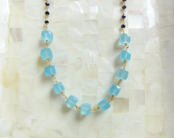 Faceted Blue Chalcedony Cubes & Faceted Black Spinel Rondelle Vermeil Wire Wrapped Chain Necklace (N1771)