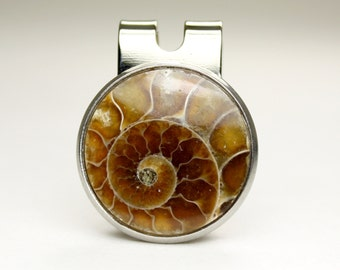 Ammonite Inlayed, Magnetic Golf Ball Marker, Stone Inlayed