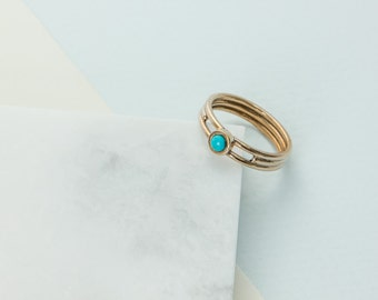 Turquoise and Bronze Bezel Set Ring