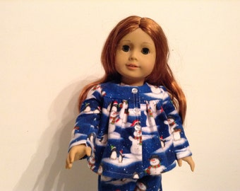 Snowman pajamas for 18 inch doll