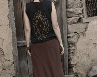 Black Handwoven Cotton Embroidered Vest ~ Natural dyed