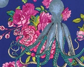 Shabby Chic Nursery Fabric, Neptune and Mermaid, Neptunes Neverland, Octopus Nautical Decor, Coastal Decor, Beach Decor, Cottage Chic