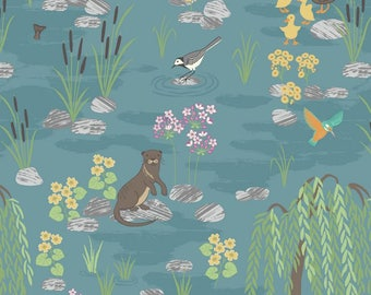 Down by the River on Teal - A219.2 - Down By the River - Lewis and Irene Fabric - By the Yard