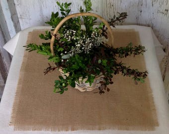 Set of 10 Burlap Table Squares 12x12, 15x15 or 18x18 Burlap Table Toppers, Rustic Shabby Chic Overlays