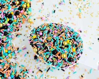 OMG Bulk Twinkle Sprinkle Medley, Glam, Black and Peach, Gold, Canadian Sprinkles