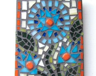 Flowers, Wall Decor, Mosaic, Orange, Blue, Original Art, Gift, Wedding, Shower, Wall Hanging, Nursery