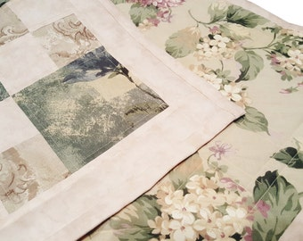 Handmade Quilted Green Cream and Tan Patchwork Table Runner/Topper, Kitchen, Bar or Dining Home Decor Traditional diagonal patchwork