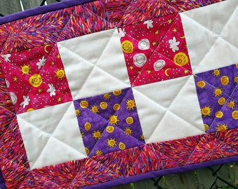 Patchwork Table Mat, Candle Mat or Table Runner, Handmade Quilted and bright Kitchen, Dining, Home Decor, vibrant pink and purple