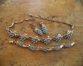 Signed STAR Blue Crystal Rhinestone Necklace Bracelet Earrings Set Goldtone