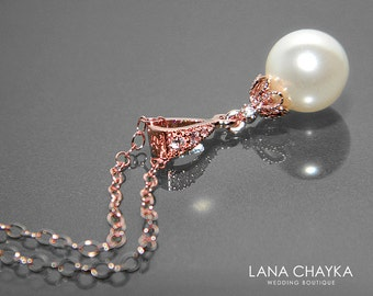 White Pearl Rose Gold Bridal Necklace Swarovski 8mm Pearl Drop Necklace Wedding Rose Gold Pearl Necklace Bridal Jewelry Wedding Necklaces