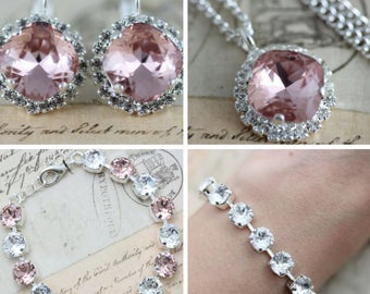 Pink Jewelry Set Rose Bracelet Necklace Earring Set Swarovski Crystal Mother of Bride Gift Maid Of Honor Also Avail As Clip On Earrings