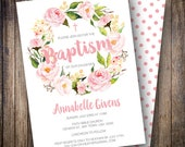 Floral Baptism Invitation Girl, Watercolor Flowers, Peony Floral Wreath, Girl Baptism Invite, Pink, Green, 713