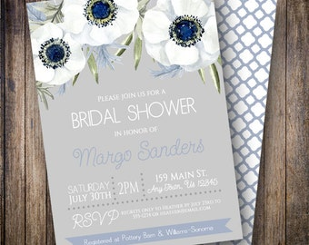 Rustic Bridal Shower Invitation, Watercolor Anemone Bridal Shower Invitation, Watercolor Bridal Shower Card in Gray, Blue, Green