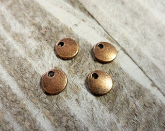 Metal Stamping Blanks Antiqued Copper Blank Charms Pendants Metal Circle Tag Blanks 10 pieces 8mm