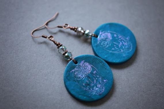 Owl Earrings, Polymer Clay Owl Earrings, Antique Copper Earrings, Teal Earrings, Czech, Beaded Earrings