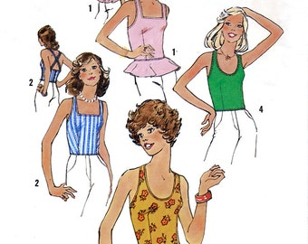 Simplicity 6978 Vintage 70s Sewing Pattern for Misses' Tops - Uncut - Size 6 and 8