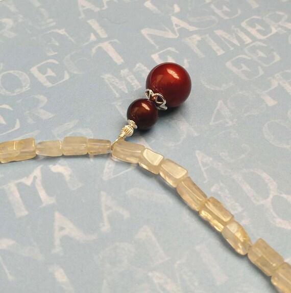 Burgundy Red Swarovski Crystal Pearls and Ivory Quartz Gemstones on Sterling Silver Chain