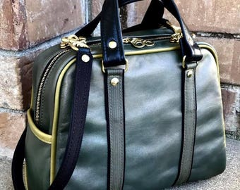 Vintage Style Bowler handbag Satchel in YOUR CHOICE of leather with your CHOICE of trim -  Handbag - Laurel Dasso