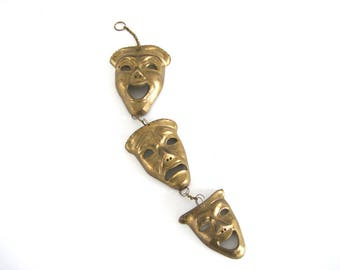 Vintage Brass Comedy and Tragedy Mask Set Theater Drama Comedy Masks Wall Hanging Happy Face Sad Face Hanging Wall Art Mid Century