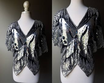 Vintage 70's Butterfly Top Sequin Blouse Ladies Disco Top Bat Wing Silver Black Short Sleeve 80's Party Beaded Shiny Top Medium Large OS