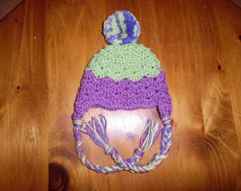 crochet hat, baby hat, baby winter hat, hat with ear flaps, pompom hat, christmas
