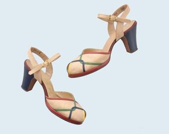 1940s Linen Heels size 6.5