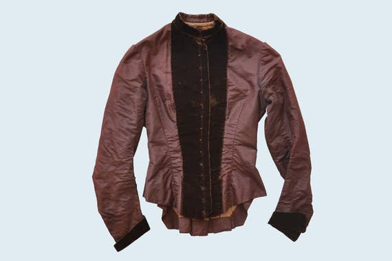 Victorian Burgundy Satin Blouse size XS