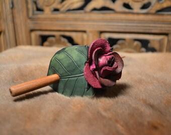 Leather Stick Barrette - Purple Rose