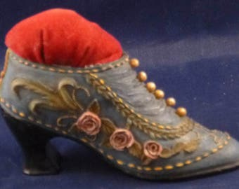 Vintage Victorian Embellished Shoe Pin Cushion, 1940s
