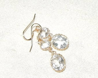 Faceted white topaz drop earrings,Faceted white topaz and gold drop earrings,faceted white topaz statement earrings,white topaz bridal