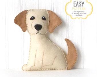 Dog Sewing Pattern, Golden Lab Hand Sewing Pattern, Felt Labrador Retriever Dog Sewing Pattern, Stuffed Animal Dog Pattern