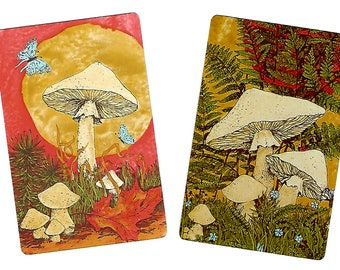 MEADOW MUSHROOMS (2) Vintage Single Swap Playing Cards Paper Ephemera Scrapbook Supplies