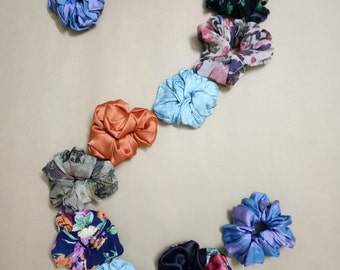 12 Satin Hair Scrunchies - READY TO SHIP