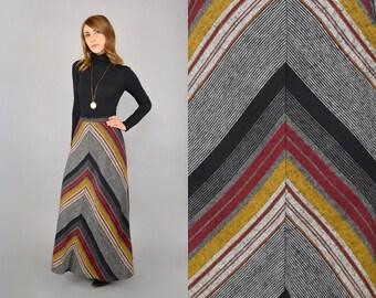 70's Chevron Stripe Maxi Skirt