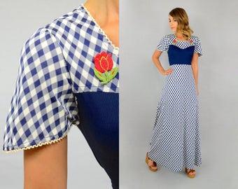 70's Gingham Maxi Dress