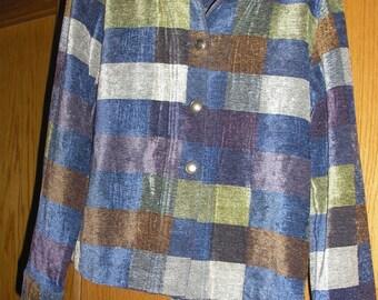 Christopher &  Banks  Plaid Long Sleeve Womens Plaid Jacket Shirt Med.