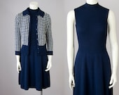 70s Vintage ST. JOHN Wool Knit Mock Turtleneck Midi Dress and Cardigan Set (S)