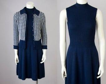 70s Vintage ST. JOHN Wool Knit Mock Turtleneck Midi Dress and Cardigan Set (S)
