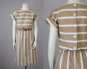70s 80s Vintage Cotton Striped Midi Dress with Back Buttons (XS, S)