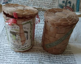 2 Superb and rare antique French Peeking tea samples baskets dated 1902   BELLE BROCANTE